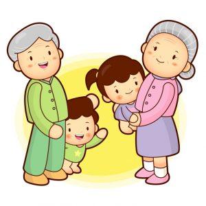 семья с дедушкой и бабушкой